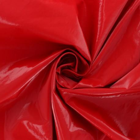 Tissu Viscose effet cuir brillant - Rouge x 10cm