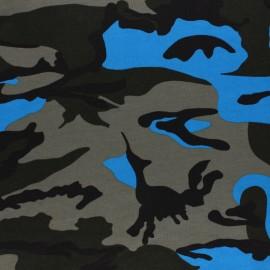 Tissu jersey militaire - bleu x 10cm
