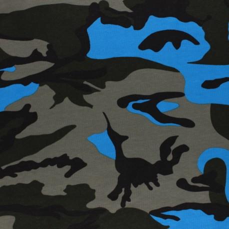 Cotton jersey fabric - blue Army x 10cm