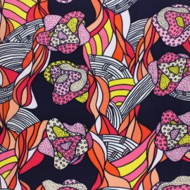Cotton viscose voile Fabric - Pink At the beach x 10cm