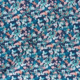 Tissu viscose Blue flowery field - bleu x 10cm