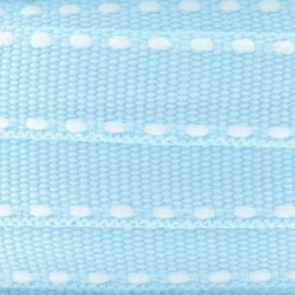 Grosgrain aspect white stitched-edge ribbon - sky blue