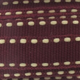 Grosgrain aspect ecru stitched-edge ribbon - burgundy