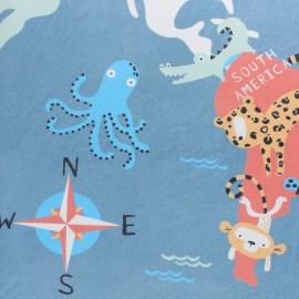Twill cotton fabric - Blue Animals of the world x 50cm