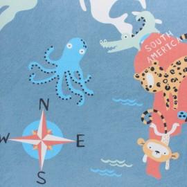 Twill cotton fabric - Blue Animals of the world x 50cm