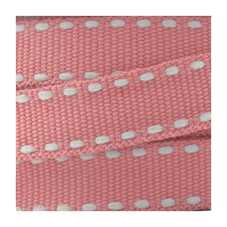 Grosgrain aspect grey stitched-edge ribbon - old rose