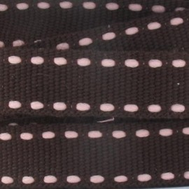 Grosgrain aspect pink stitched-edge ribbon - brown