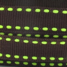 Grosgrain aspect lime stitched-edge ribbon - brown