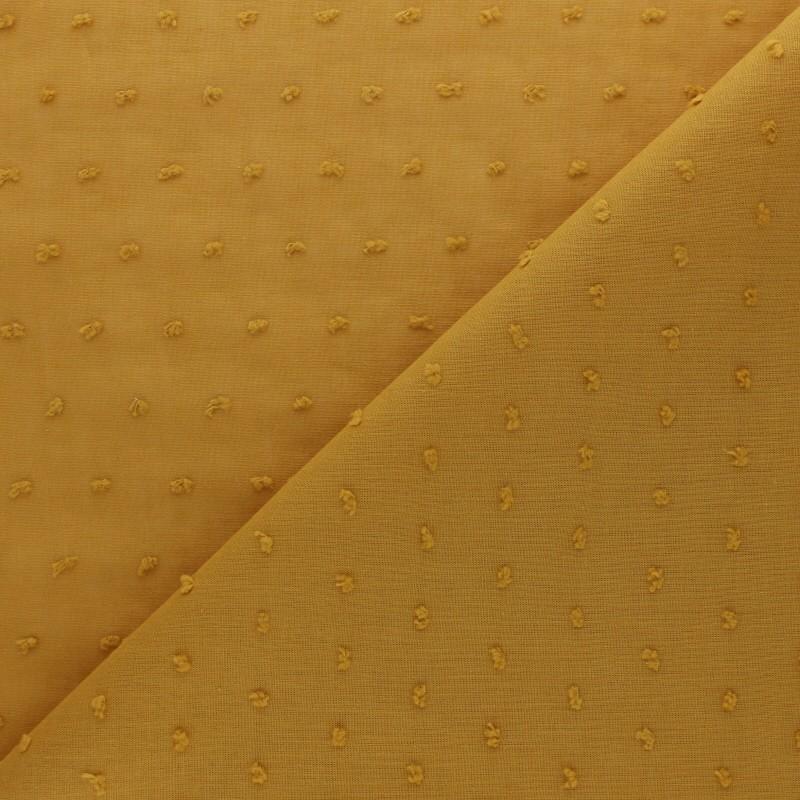 Tissu plumetis: voile de coton Bianca jaune moutarde MPM