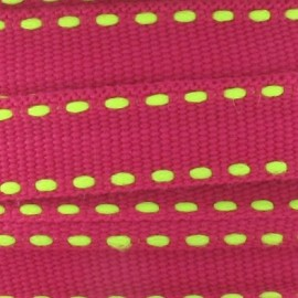 Grosgrain aspect fluorescent yellow stitched-edge ribbon - fuchsia