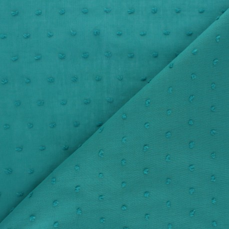Plumetis Cotton voile Fabric - Sauge Green Bianca x 10cm