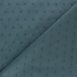 Plumetis Cotton voile Fabric - Petrol blue Bianca x 10cm