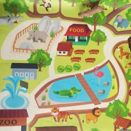 Tissu Feutrine Circuit Zoo - vert x 68cm