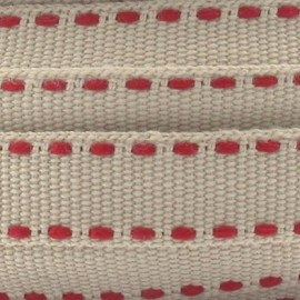Grosgrain aspect red stitched-edge ribbon - sand