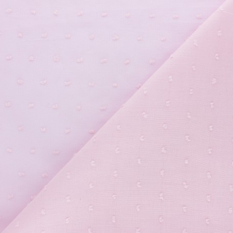 Tissu voile de coton Plumetis Bianca - rose x 10cm