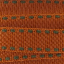 Grosgrain aspect brown stitched-edge ribbon - mahogany