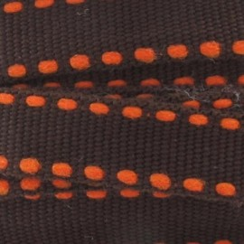Grosgrain aspect orange stitched-edge ribbon - brown