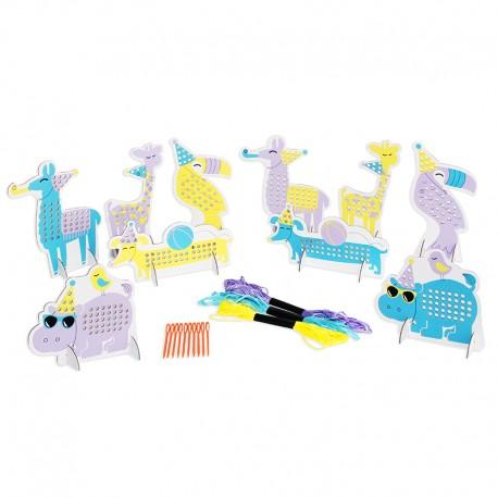 Kit Enfant Party Animals - Cartes à Broder (10 pièces)
