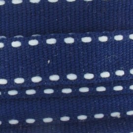 Grosgrain aspect white stitched-edge ribbon - navy