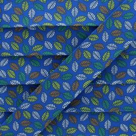 Biais Coton Feuille d'Automne 25 mm - Bleu x 1m