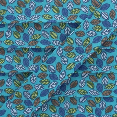 Biais Coton Feuille d'Automne 25 mm - Turquoise x 1m