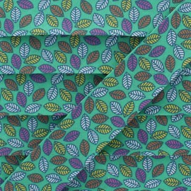 Biais Coton Feuille d'Automne 25 mm - Vert x 1m