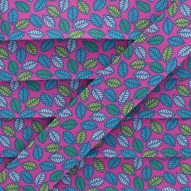 Biais Coton Feuille d'Automne 25 mm - Fuchsia x 1m