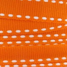 Grosgrain aspect white stitched-edge ribbon - orange
