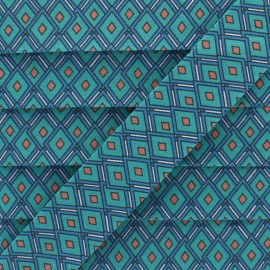 25 mm Cotton Bias Binding - Turquoise Diamond x 1m