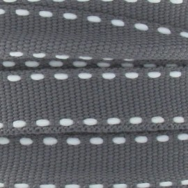 Grosgrain aspect white stitched-edge ribbon - grey