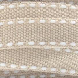 Surpiqué blanc sur beige