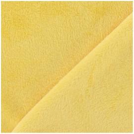 Tissu velours minkee doux ras jaune x 10cm