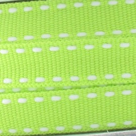 Grosgrain aspect white stitched-edge ribbon - lime