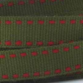Grosgrain aspect red stitched-edge ribbon - khaki