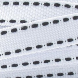 Grosgrain aspect black stitched-edge ribbon - white