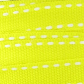 Grosgrain aspect white stitched-edge ribbon - yellow