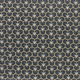 Coated cretonne cotton fabric - black Eventail x 10cm