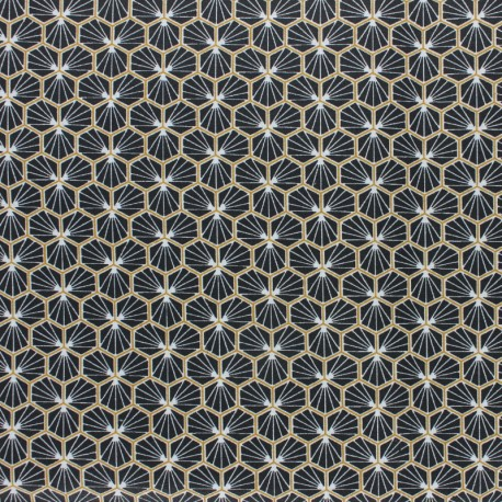 Coated cretonne cotton fabric - black Eventail x 10cm