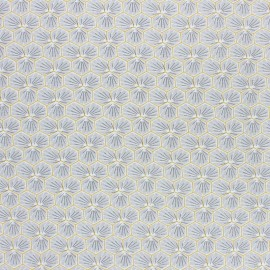 Coated cretonne cotton fabric - light grey Riad x 10cm