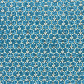 Coated cretonne cotton fabric - Duck blue Riad x 10cm
