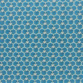 Tissu coton cretonne enduit Riad - bleu canard x 10cm