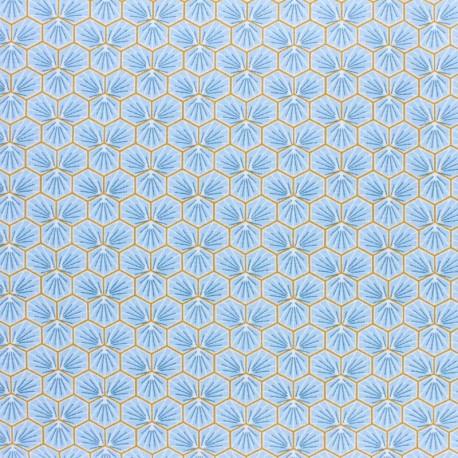 Coated cretonne cotton fabric - slate grey Riad x 10cm