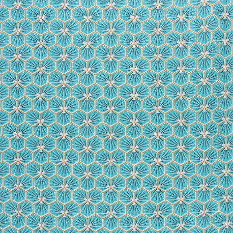 Coated cretonne cotton fabric - light blue Riad x 10cm