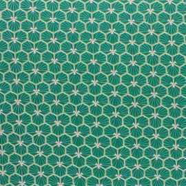 Coated cretonne cotton fabric - Green Riad x 10cm