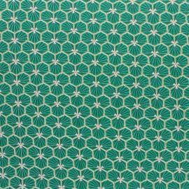 Coated cretonne cotton fabric - Turquoise blue Riad x 10cm