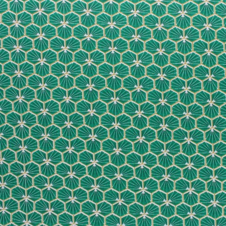 Coated cretonne cotton fabric - Turquoise blue Riad x 10cm