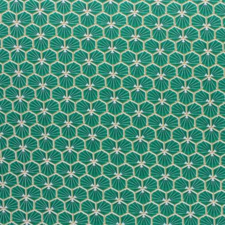 Tissu coton cretonne enduit Riad - Turquoise x 10cm