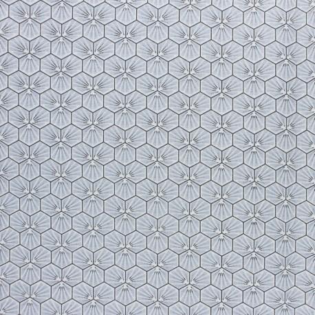 Coated cretonne cotton fabric - Green Riad x 10cm