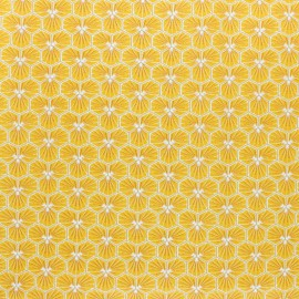 Coated cretonne cotton fabric - yellow Riad x 10cm