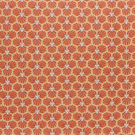 Coated cretonne cotton fabric - saffron yellow Riad x 10cm